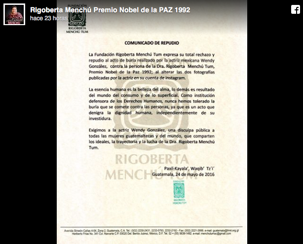 rigoberta menchu thesis Perceptions of truth in i, rigoberta menchú in 1992, a twenty-three year-old guatemalan indian woman achieved international renown for one of the most influential autobiographies of all time, i, rigoberta menchú (1984.